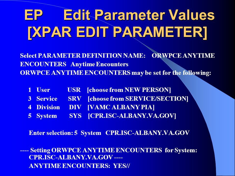 EP Edit Parameter Values [XPAR EDIT PARAMETER]